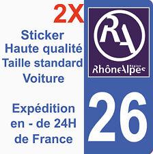 Sticker autocollant vinyle immatriculation département 26 Région Rhône Alpes HQ