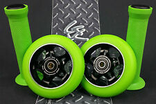 Black Pro Star Green Metal Core Scooter Wheels x2 + Grips + GK Grip Tape