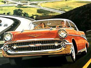 "1957 ""CHEVROLET SEDAN""  Large Poster Art Print (23"" x 12"") by J B Deneen"