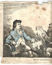 Gravure (35 cm X 26) 1784. MONEY LENDERS. Voir photos anant d'enchérir.RARE+++.
