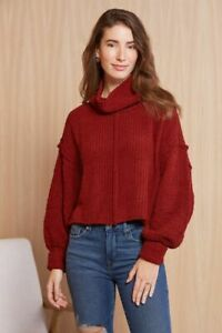 New Free People Be Yours Pullover Funnel Cropped Jumper Red Berry Size Small