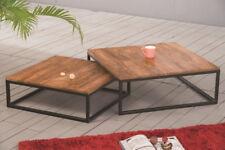 Alana Set of 2 Nesting Table- Solid Acacia Wood/Black Iron Legs -WNT05