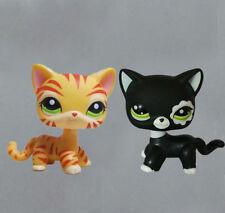 2PCS LITTLEST Pet  SHOP  LPS Figure Toys  Black Cat & Orange tiger striped Cat