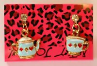 Betsey Johnson Crystal Rhinestone Enamel Teapot & Cup Post Earrings