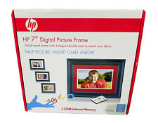 """HP 7"""" 512 MB Memory Remote USB Deluxe Package Digital Picture Solid Wood Frame"""