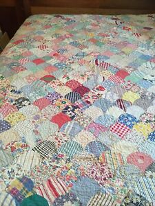 Vintage 1930s-1940s Cutter/Repair Patchwork Cotton Novelty Feedsack Quilt, Faded