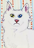 TURKISH ANGORA Collectible Cat ACEO Original Miniature Art Painting 2.5 x 3.5