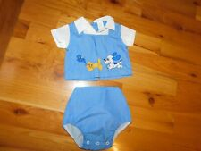 Applique Dog Cat Bird Baby Outfit Blue Philippines Vintage 12 Month