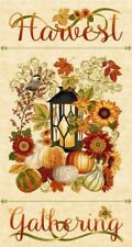 """24"""" Fabric Panel - Henry Glass Fall Autumn Harvest Gathering Wallhanging Cream"""