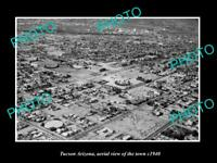 OLD POSTCARD SIZE PHOTO TUCSON ARIZONA AERIAL VIEW OF THE TOWN c1940 1
