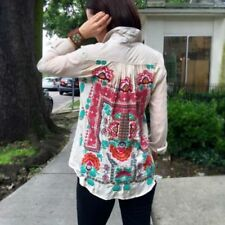 Johnny Was Medium 3J Workshop Tessa Blouse Back Pleat Embroidery Smock Shirt