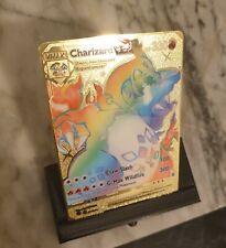 Rainbow Charizard Vmax Custom Pokemon Card Gold Metal