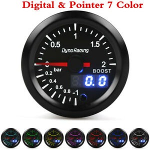 2in 52mm 7 Color LED Car Turbo Boost Meter Bar Digital & Pointer Pressure Gauge