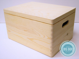 Large Wooden Box Hinged lid or without Toy Storage Christmas 2020 XMAS EVE BOX