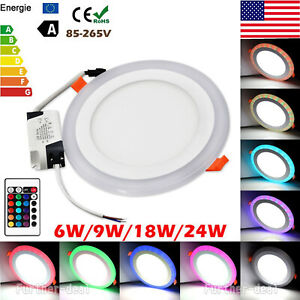 White RGB Dual Color LED Light LED Ceiling Recessed Panel Downlight Spot Lamp US