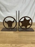 Vintage Pair of Iron Bookends - Cow Spurs Cowboy Ranching