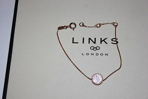 Original Links of London Rose Gold Vermeil Pure 2 Rund Weiß Topas Armband