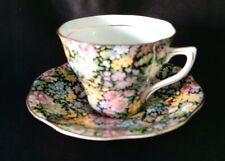 English Bone China Rosina Floral Chintz Yellow Pink Black Cup & Saucer