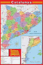 Wall Map of CATALONIA CATALUNYA Full-Sized Poster (Cities, Geography, etc.)