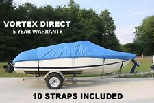 NEW VORTEX HEAVY DUTY FISHING/SKI/RUNABOUT/BOAT COVER 20' 21' 22' BLUE
