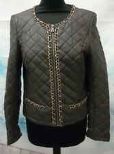 Lumineux Faux Leather Jacket In Brown /Gold Chain Detail Size M Fit 10/12  G1