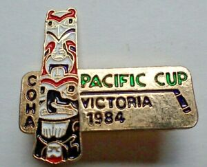 Canadian Old Timers Hockey Association COHA Pin Pacific Cup Victoria BC 1984