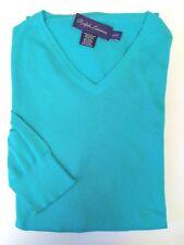 Ralph Lauren Purple Label England 100% Cotton Blue VNeck Sweater Shirt Large L