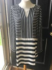 New Rare Chico's $89 Black & White Contrast Stripe Tunic Top Sz 3 = XL 16 18 NWT