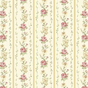 Dollhouse Miniature Shabby Chic Wallpaper Yellow & Pink Stripe Floral 1:12 Roses