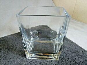 Lovely Modern Heavy Chunky Clear Glass Square Cube Flower Vase