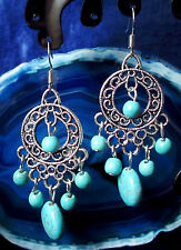 Earrings Circle with tropfentibet Silver Turquoise Stone Middle Eastern