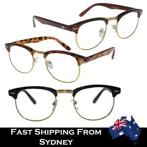 Men Women Retro Reading Glasses Clear Lens Clubmaster Style Black Tortoise Brown