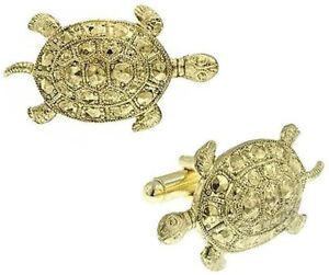 Men's Turtle Cufflinks Gold Sea Turtle Faceted Carapace Dress Shirt Cuff Links