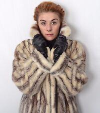 US335 Pretty Women Black Cross Mink Fur Coat jacket Full length Nerzmantel  ~ L