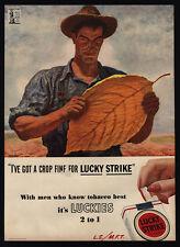 1944 LUCKY STRIKE Cigarettes - Tobacco Leaf - Buy WWII War Bonds - VINTAGE AD