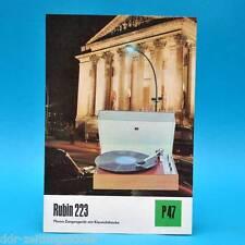 Rubin 223 tourne-disques RDA 1974 | prospectus publicité publicitaire feuille Dewag p47 K