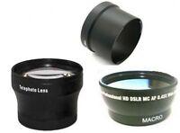Wide Lens + Tele Lens + Tube Adapter bundle for Canon Powershot G10 G11 G12
