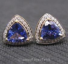 New Hot STUNNING Solid 14K YELLOW GOLD NATURAL BLUE TANZANITE DIAMOND EARRING