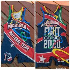 Men's Michigan National Team Wrestling Singlet Set. Red/Blue. Medium