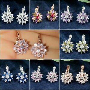 Luxury 925 Silver White Sapphire Stud Earrings for Women Fine Jewelry A Pair/set