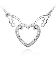 18K Gold GP SWAROVSKI Element Crystal Heart Double Wing Pendant Necklace White