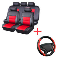 Universal Leather Car Seat Cover Steering Wheel Cover Set Black Red for Holden