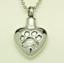 Paw Heart Cremation Urn Necklace, Dog or Cat Ashes Keepsake, Engraveable on back