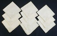"Vintage White Embroidered Napkins Lot of 10 Linen 10 3/4"" x 10 3/4"" Scalloped"