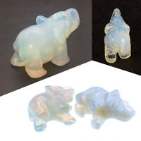 1X Hand Carved Natural Opal Stone Crystal Elephant Statue Home Table Decor 1.5''
