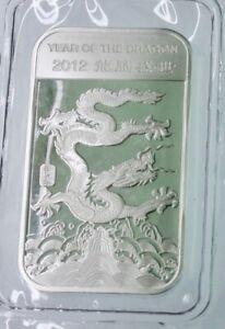 2012 Year of the dragon 1 OZ .9999 fine silver Proof-like bar-BU sealed #274