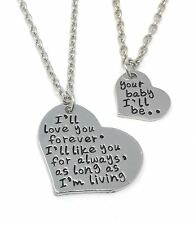 925 Silver Plt 'Love You Forever Your Baby I'Ll Be' Engraved Necklace Like  B