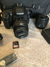 Canon EOS 80d 24.2mp DSLR Camera With 3 Lenses and Accessories 64gb card & bag