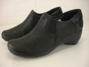 Women's sz 11 M Merrell Veranda Black Leather Shoes Clogs Slip-On Comfort Loafer