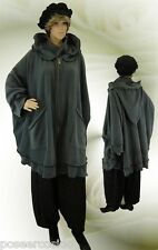 PoCo DeSiGn LAGENLOOK Poncho Kurz-Mantel Cape Fleece grau 44-58 L-XL-XXL-XXXL